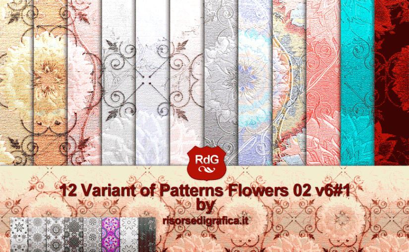 Free photoshop pattern – 12 Patterns Flowers 02 V. n°6#1